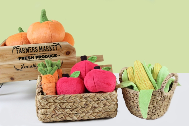 Plush Dog Toys - Carrot Dog Toy, Pumpkin Dog Toy, Corn Dog Toy, Apple Dog Toy